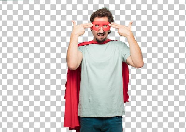 Young crazy super hero man suicide sign Premium Psd