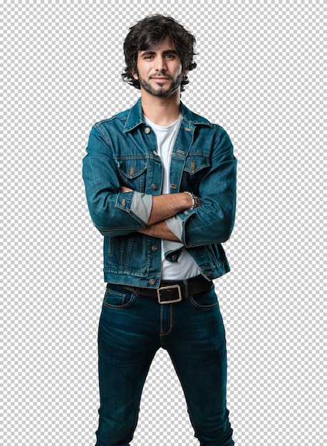 Young handsome man crossing his arms, smiling and happy, being confident and friendly Premium Psd