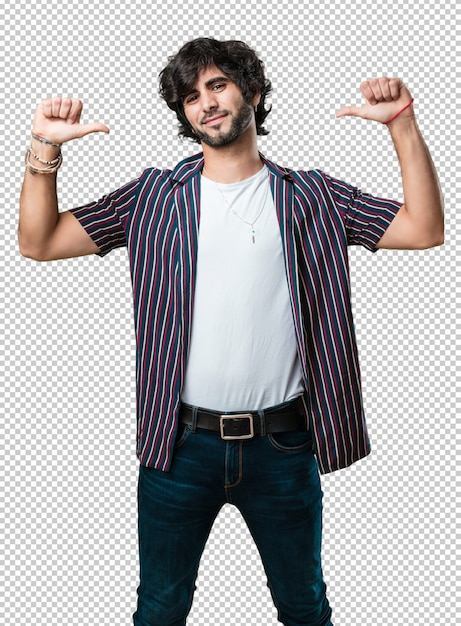 Young handsome man proud and confident, pointing fingers, example to follow, concept of satisfaction, arrogance and health Premium Psd