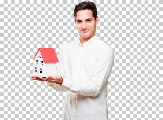 Young handsome tanned man with a house model Premium Psd