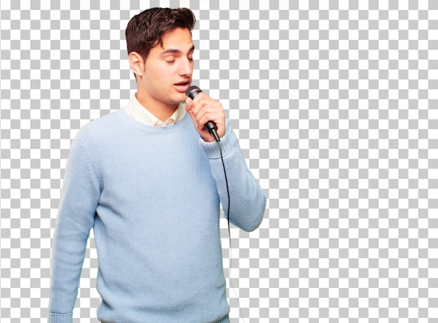 Young handsome tanned man with a microphone Premium Psd