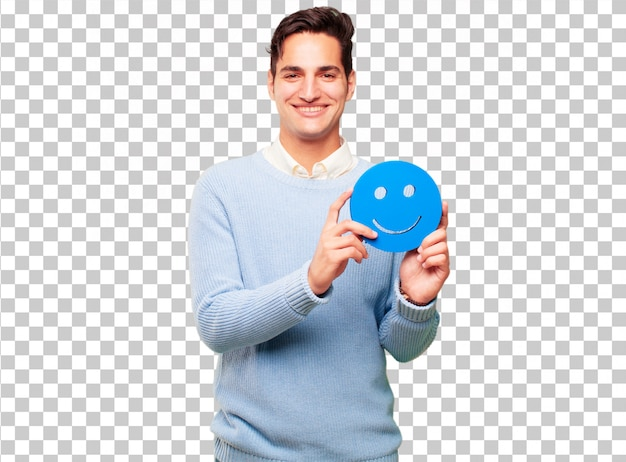 Young handsome tanned man with a smiley emoticon Premium Psd