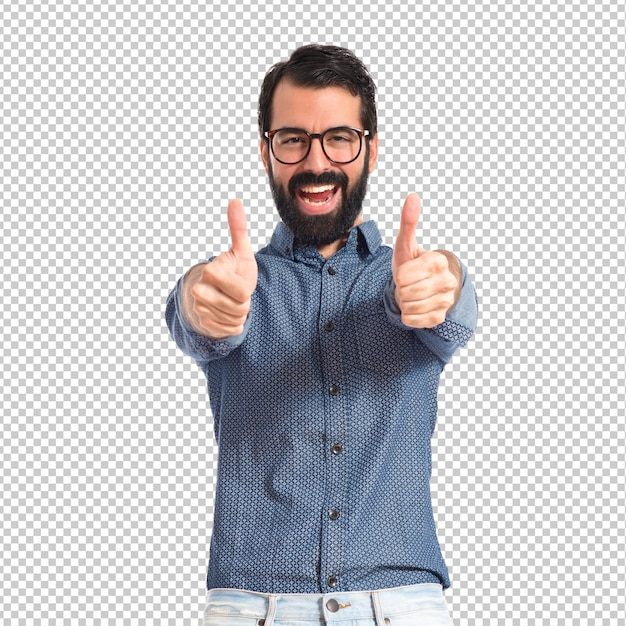 Young hipster man with thumb up Premium Psd