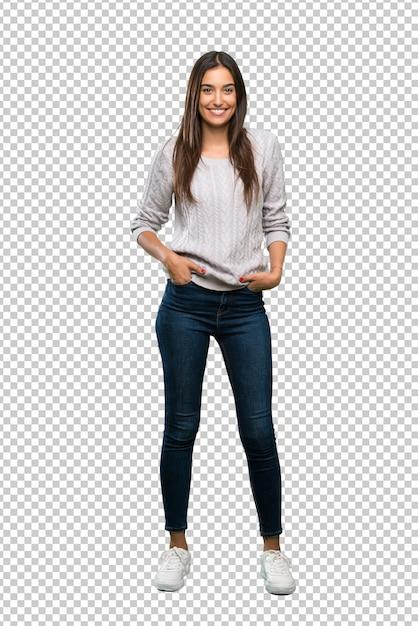 Young hispanic brunette woman laughing Premium Psd