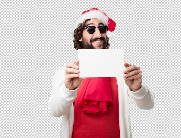 Young man christmas holidays. expressing emotions and concepts Premium Psd