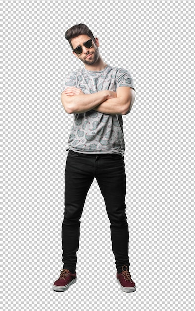 Young man crossing arms Premium Psd