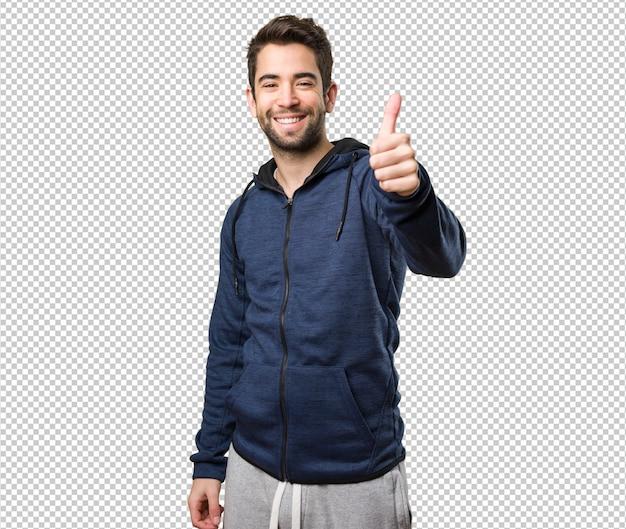 Young man doing okay gesture Premium Psd
