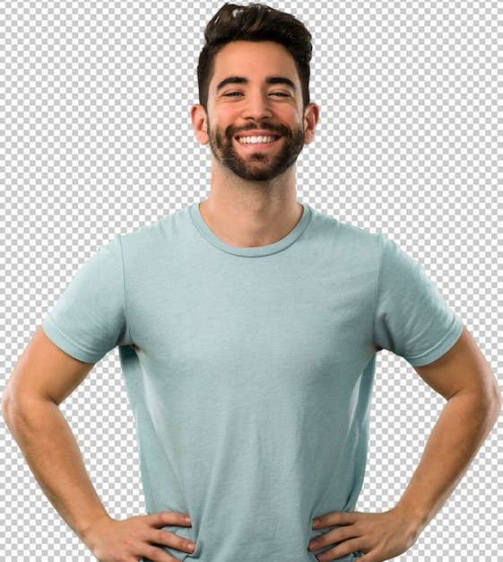 Young man placing his hands on hips Premium Psd