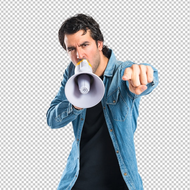 Young man shouting over isolated white background Premium Psd