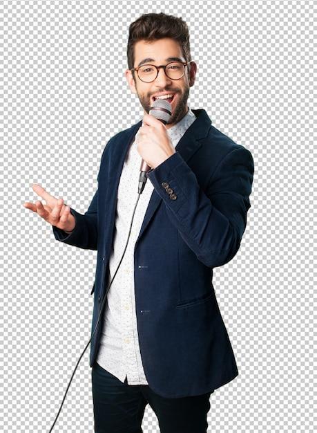 Young man singing Premium Psd