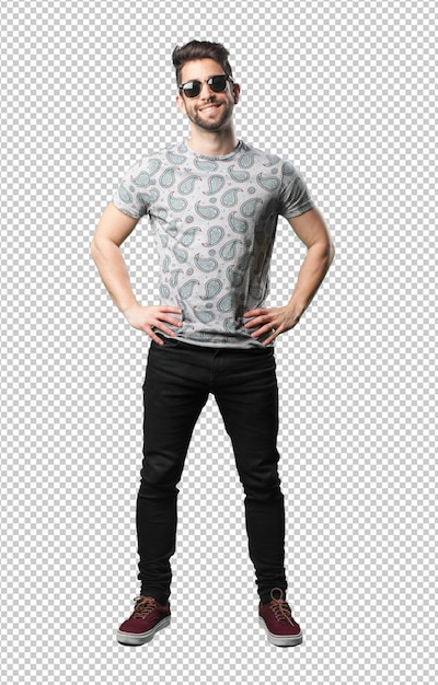 Young man standing happy Premium Psd
