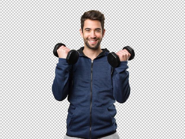 Young man using dumbbells Premium Psd