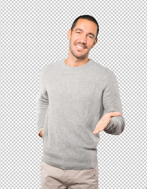 Young man waving with his hand Premium Psd