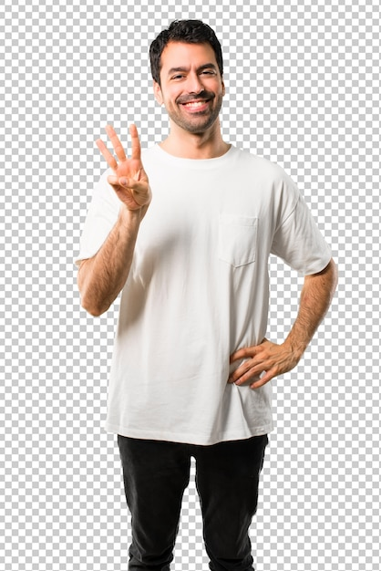 Young man with white shirt happy and counting three with fingers Premium Psd