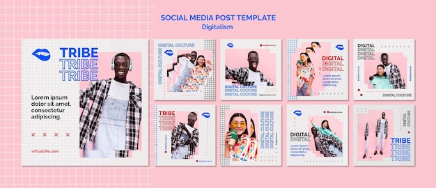 Young man and woman digital culture social media post Free Psd