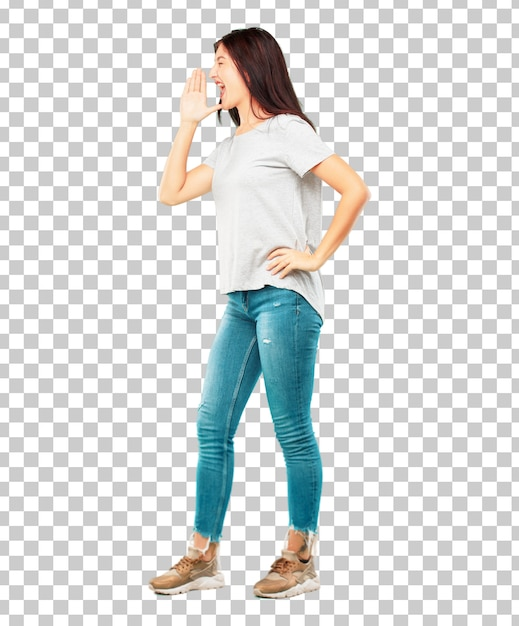 Young pretty girl full body shouting loud like crazy, calling with hand Premium Psd