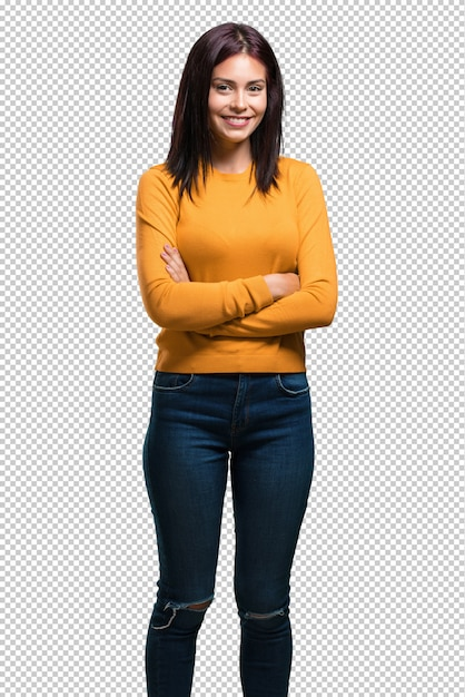 Young pretty woman crossing his arms, smiling and happy Premium Psd