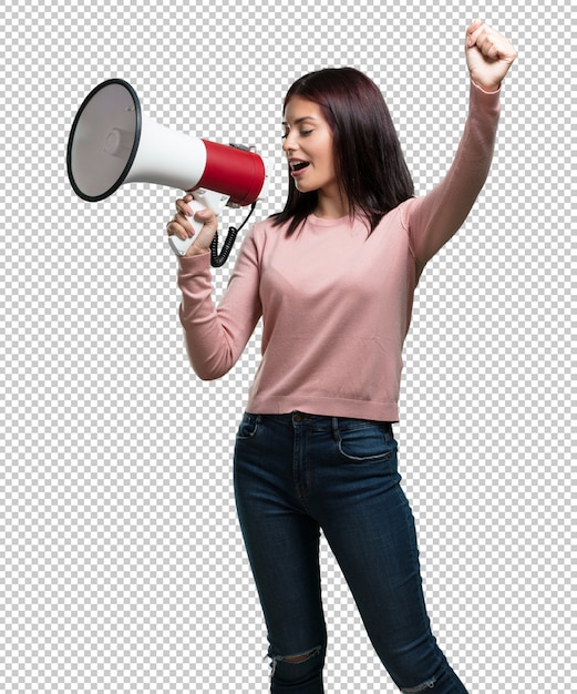 Young pretty woman excited and euphoric, shouting with a megaphone, sign of revolution and change, encouraging other people to move, leader personality Premium Psd
