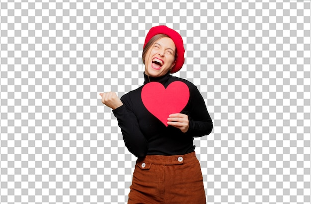 Young pretty woman expressing love concept for valentines day Premium Psd