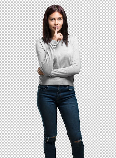 Young pretty woman keeping a secret or asking for silence Premium Psd