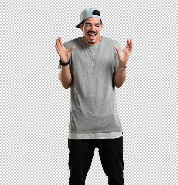 Young rapper man laughing and having fun, being relaxed and cheerful, feels confident and successful Premium Psd