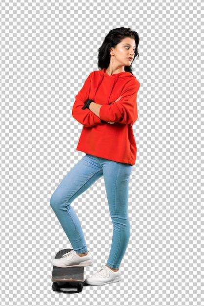 Young skater woman with red sweatshirt Premium Psd