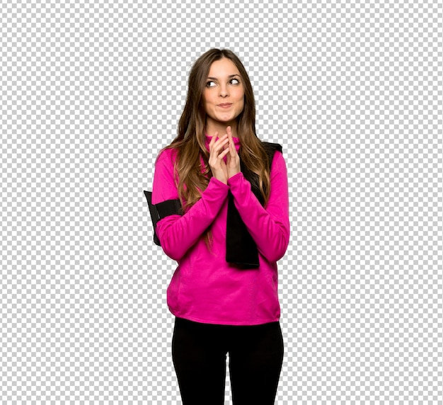 Young sport woman scheming something Premium Psd