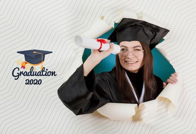 Young student happy graduating university Free Psd