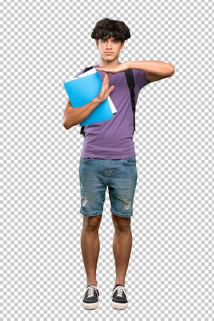 Young student man making time out gesture Premium Psd