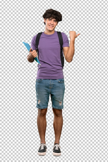 Young student man pointing to the side to present a product Premium Psd