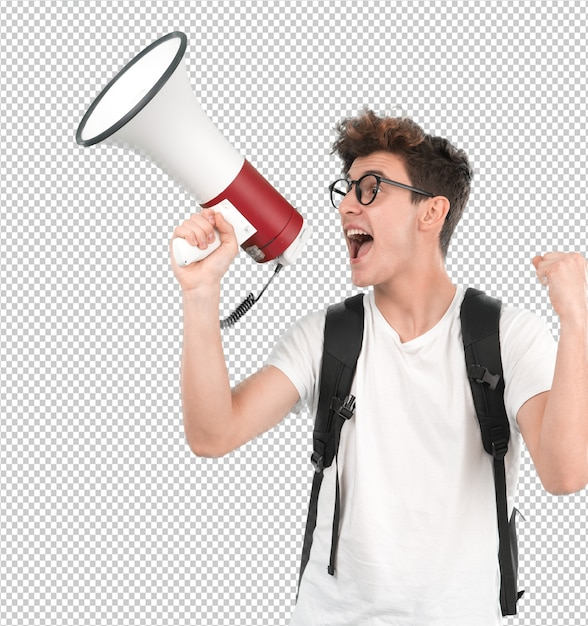 Young student using a megaphone Premium Psd