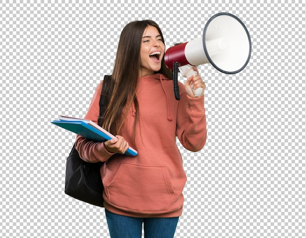 Young student woman holding notebooks shouting through a megaphone Premium Psd