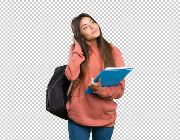 Young student woman holding notebooks thinking an idea Premium Psd