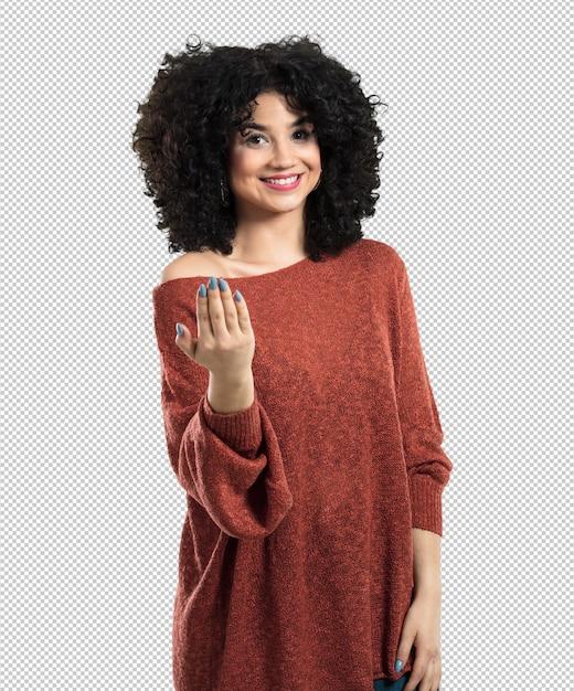 Молодая женщина делает жест приехать Premium Psd