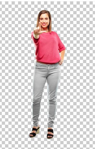 Young woman full body. gesturing looser sign Premium Psd