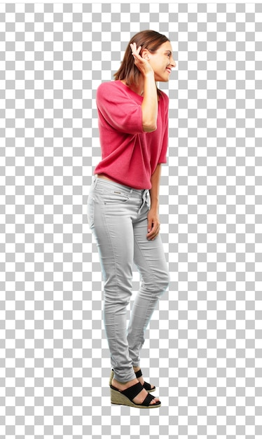 Young woman full body. paying attention, trying to hear and listen to what is being said Premium Psd