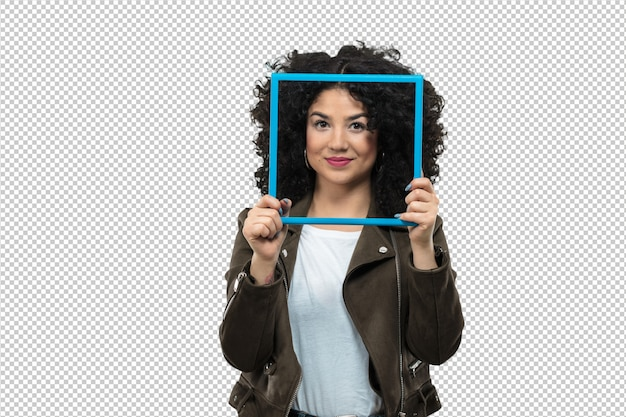 Young woman holding a frame Premium Psd
