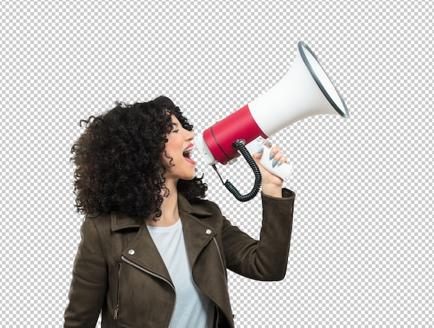 Young woman holding a megaphone Premium Psd