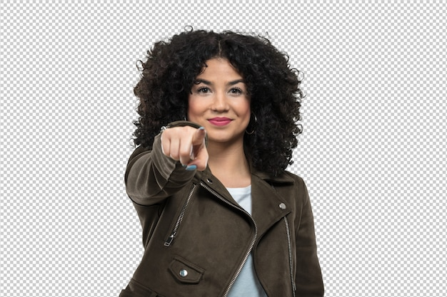 Young woman laughing and pointing Premium Psd