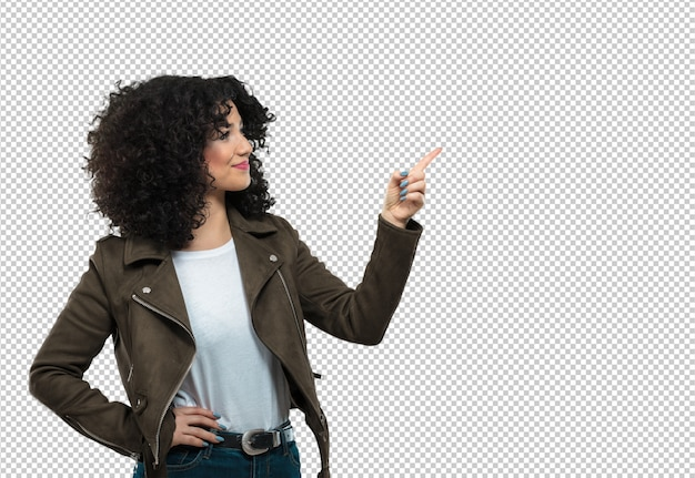 Young woman pointing aside Premium Psd