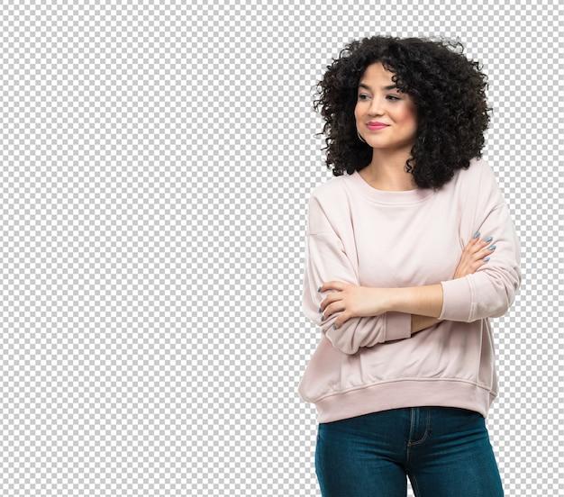 Молодая женщина со скрещенными руками Premium Psd