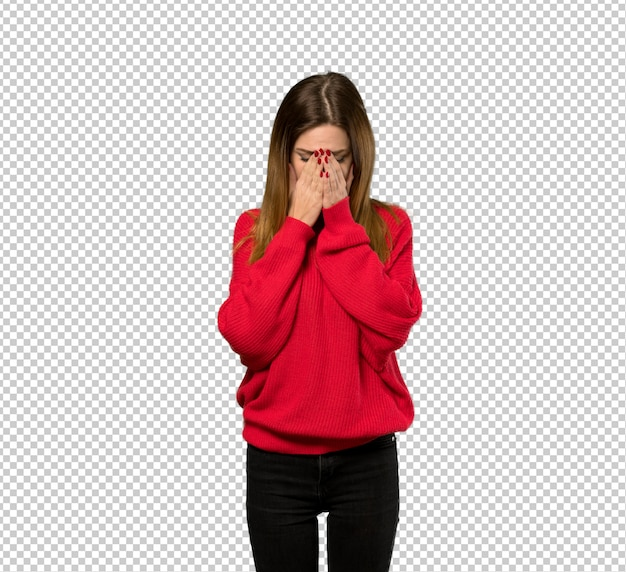 Young woman with red sweater with tired and sick expression Premium Psd