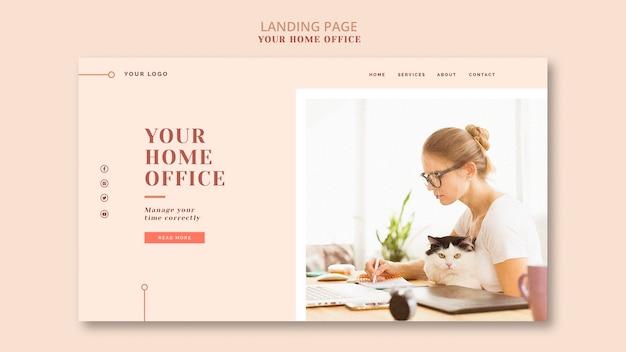 La pagina di destinazione del tuo ufficio a casa Psd Gratuite