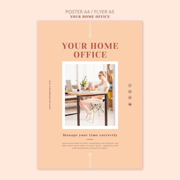 Il modello di poster del tuo ufficio a casa Psd Gratuite