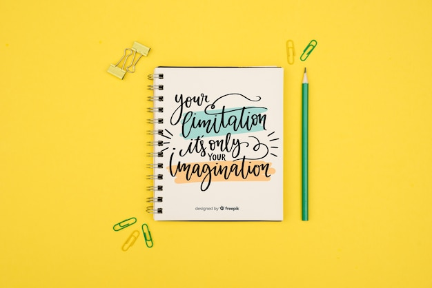 Your limitation is only your imagination quote on yellow background Free Psd