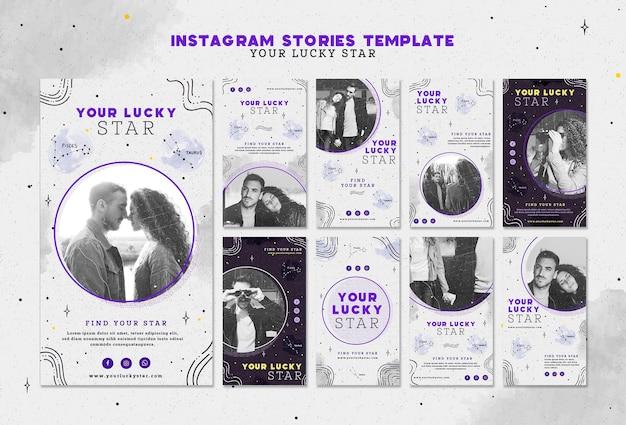 Шаблон истории ваших счастливых звездных instagram Бесплатные Psd