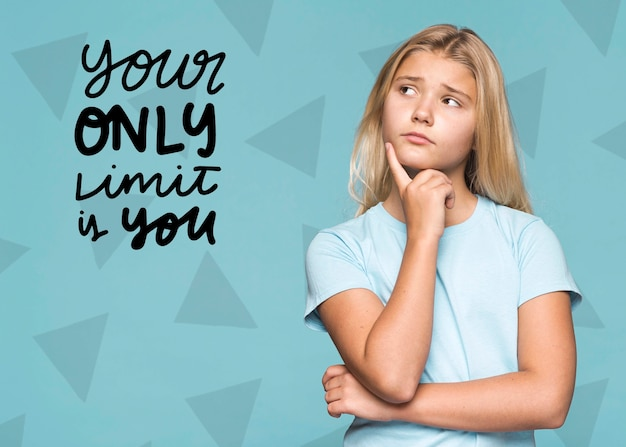 Your only limit is you cute young girl Free Psd
