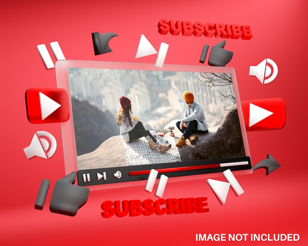 Макет медиаплеера youtube в 3d стиле Premium Psd