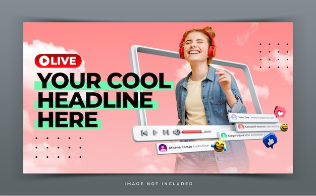 Youtube thumbnail for live workshop promotion template Premium Psd