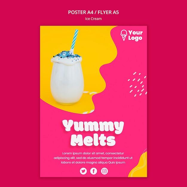Вкусный тает мороженое постер шаблон Бесплатные Psd